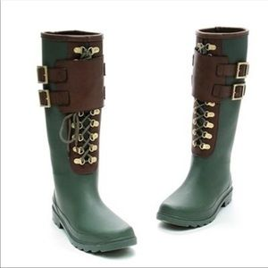 Women's Tory Burch Army Green lace up rain boots